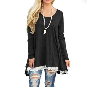 Tops - NWT Long Sleeve M Tunic with lace (black)